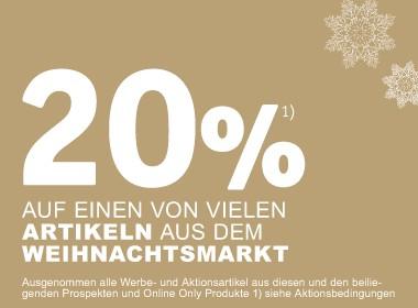 20% auf viele Artikel aus dem Weihnachtsmarkt