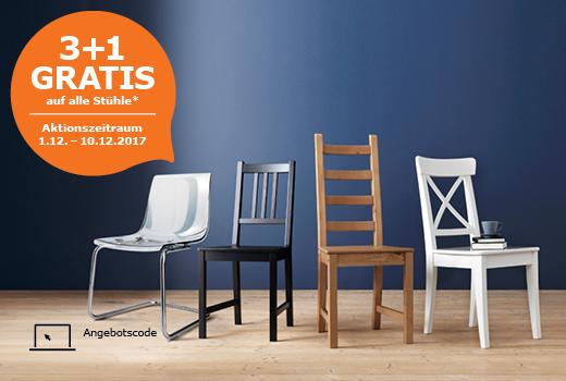 3+1 Gratis auf alle Stühle bei IKEA