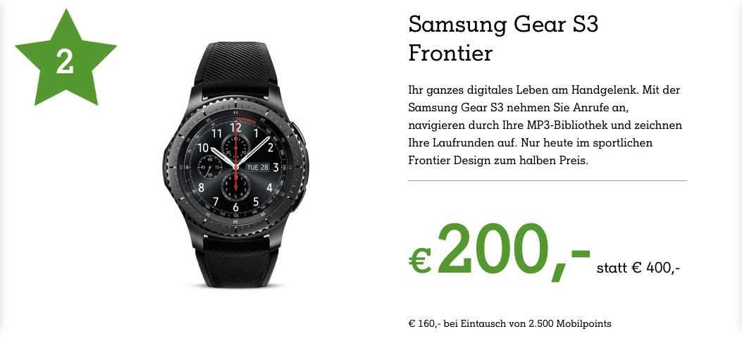 Samsung Gear S3 Frontier für 200€ bzw. 160€ (bei Mobilpoints Eintausch)