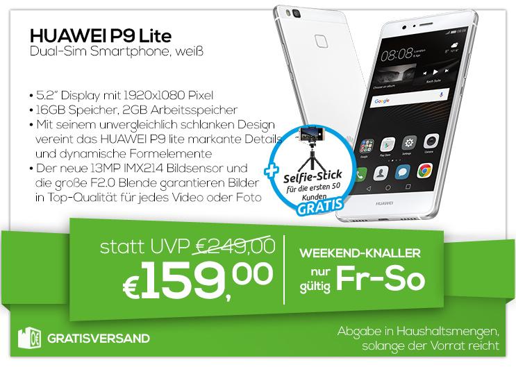 Huawei P9 Lite Dual-SIM 16GB/2GB weiß + Selfie Stick für 159€