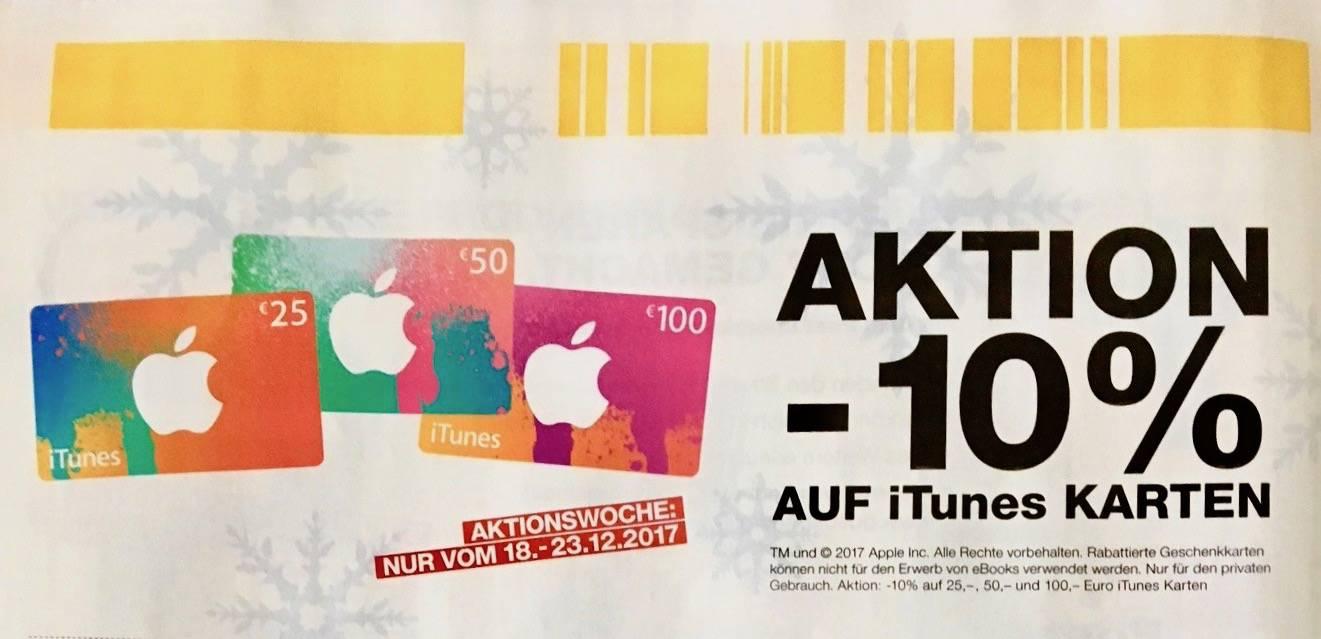 [Post] 10% Rabatt auf iTunes Karten 25 EUR, 50 EUR und 100 EUR 18.-23.12.2017