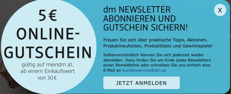DM Online Shop: 5 € Gutschein (ab 30 €)