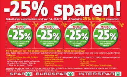 25 % Rabatt-Aufkleber bei der Spar-Gruppe ab 04.12.2017
