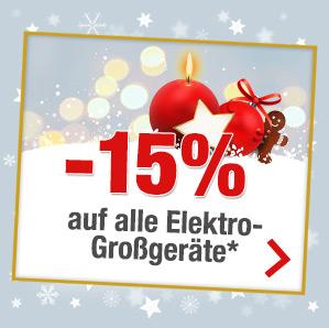 Quelle 15% auf Elektro Großgeräte, nur heute 03.12.2017 !
