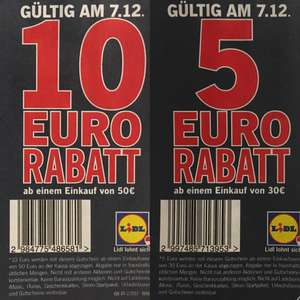 LIDL Coupons: - 5,- € oder - 10,- €