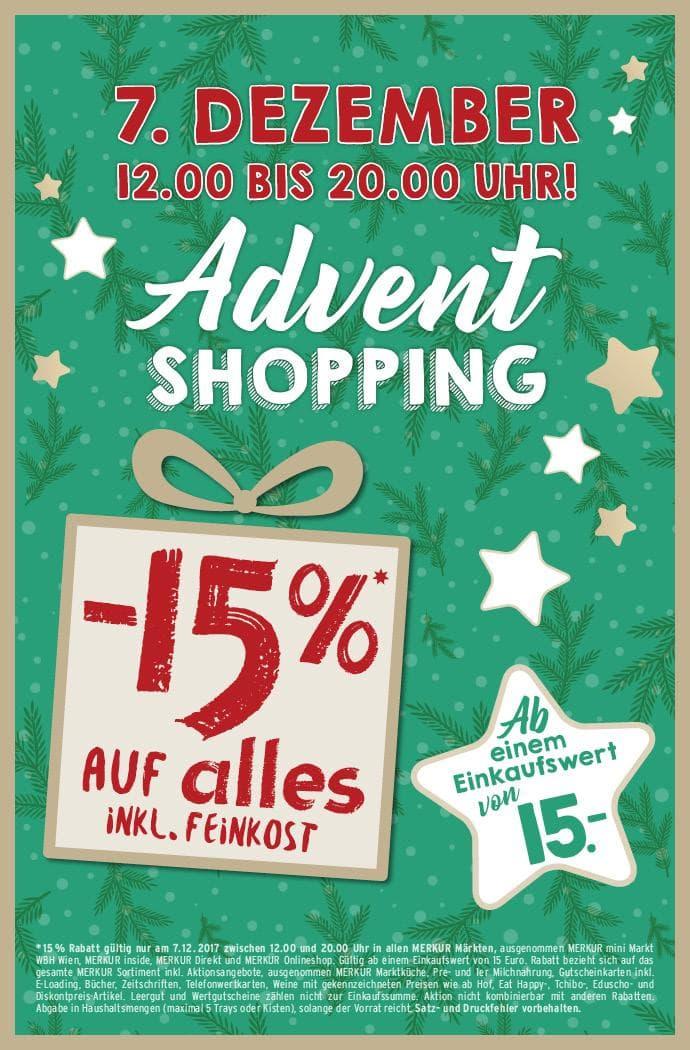 Merkur Adventshopping 15% auf Alles ab € 15.- Einkauf 07.12.17