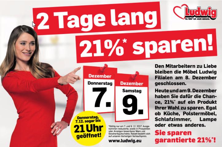 [Möbel-Ludwig] -21% auf 1 Produkt am 7.12 u. 9.12.2017