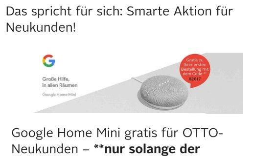 Gratis Google home mini für Neukunden bei OTTO Deutschland