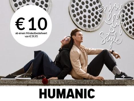 10€ Humanic Gutschein ab Einkaufswert von €59,95 für yourHUMANIC Clubmitglieder
