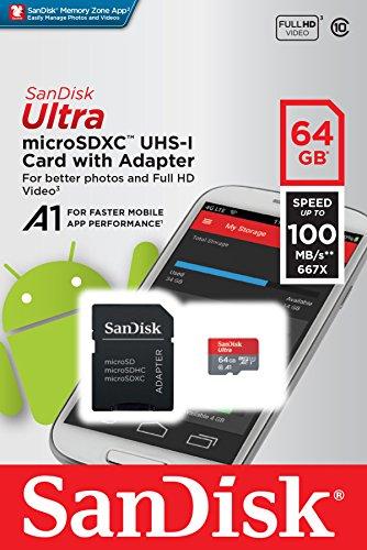 SanDisk Ultra (A1, 100 MB/s) microSDXC (64 GB) um 23,89 €