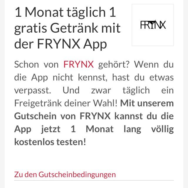 Frynx 1 Monat Gratis Getränke