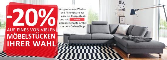 minus 20 Prozent auf ein Möbelstück deiner Wahl bis 17. Dezember 2017: KIKA