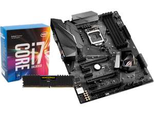 INTEL Core™ i7-7700K, 4.2 GHz + ASUS ROG Strix Z270F Gaming + CORSAIR Vengeance LPX 16GB, DDR4-3000 (569€)