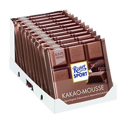 RITTER SPORT Kakao-Mousse (11 x 100 g), Gefüllte Alpen-Vollmilchschokolade, mit aufgeschlagener Kakao-Creme und Honig-Karamell-Note