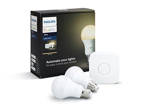 Philips Hue White E27 LED Lampe Starter Set, zwei Lampen inkl. Bridge