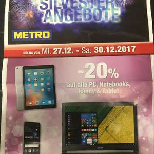 METRO: -20% auf alle PC, Notebooks, Handy, Tablet