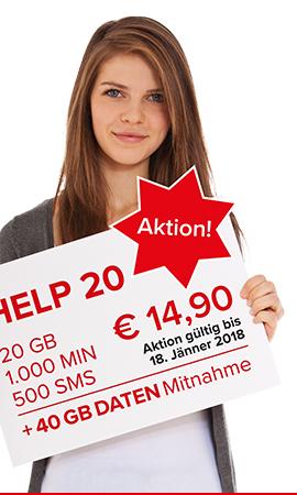 HELP mobile - 20GB, 1000 Min um 14,90€