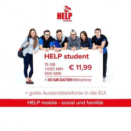 HELP Student: 15GB, 1000 min, 500 SMS - 11,90€
