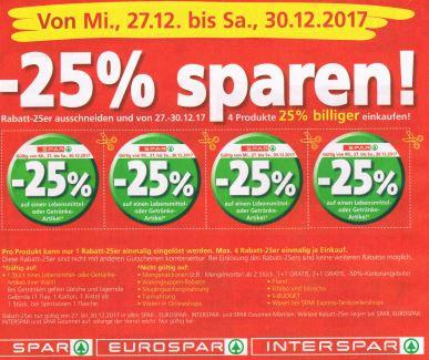 Spar / Interspar / Eurospar / Spar Gourmet -25% Rabatt auf 4 Artikel je Einkauf ab 27.12.17