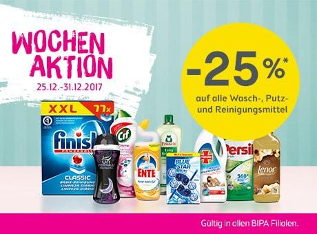 BIPA -25% auf Wasch-, Putz- und Reinigungsmittel + Babyprodukte