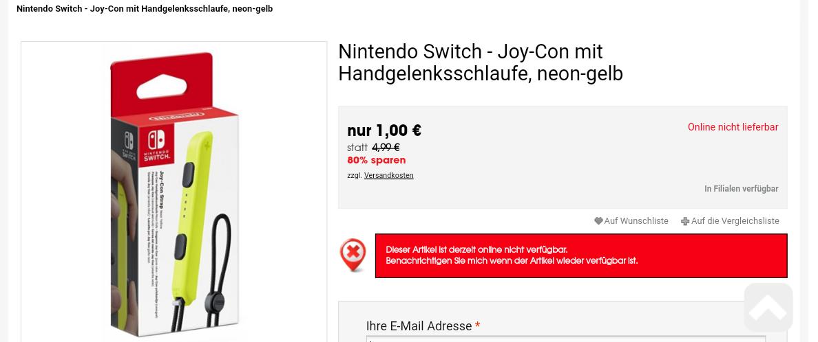 [Nur lokal erhältlich) Die 1€ Joy-Con Handgelenksschlaufen bei Libro
