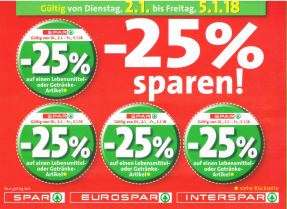 Spar / Interspar / Eurospar / Spar Gourmet -25% Rabatt auf 4 Artikel je Einkauf ab 02.01.18