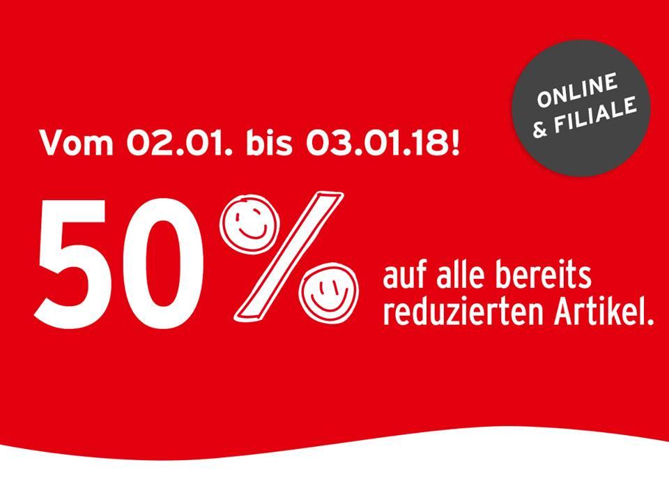 Ernsting's family: zusätzlich 50% Rabatt auf reduzierte Ware - nur bis zum 3. Jänner