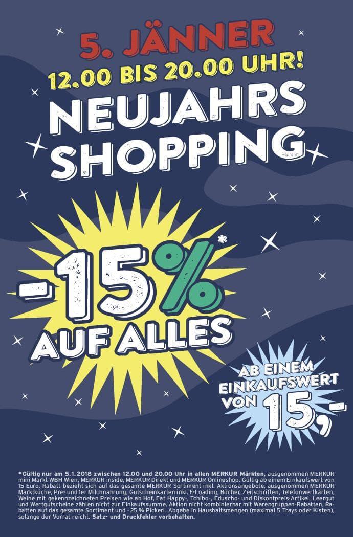 Merkur Neujahrs Shopping 15% auf alles ab € 15.- Einkauf am 05.01. ab 12h