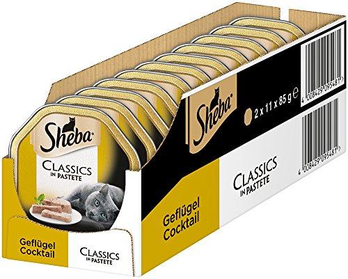 [Amazon Plus] Sheba Katzenfutter Classics Geflügel Cocktail 22x 85g