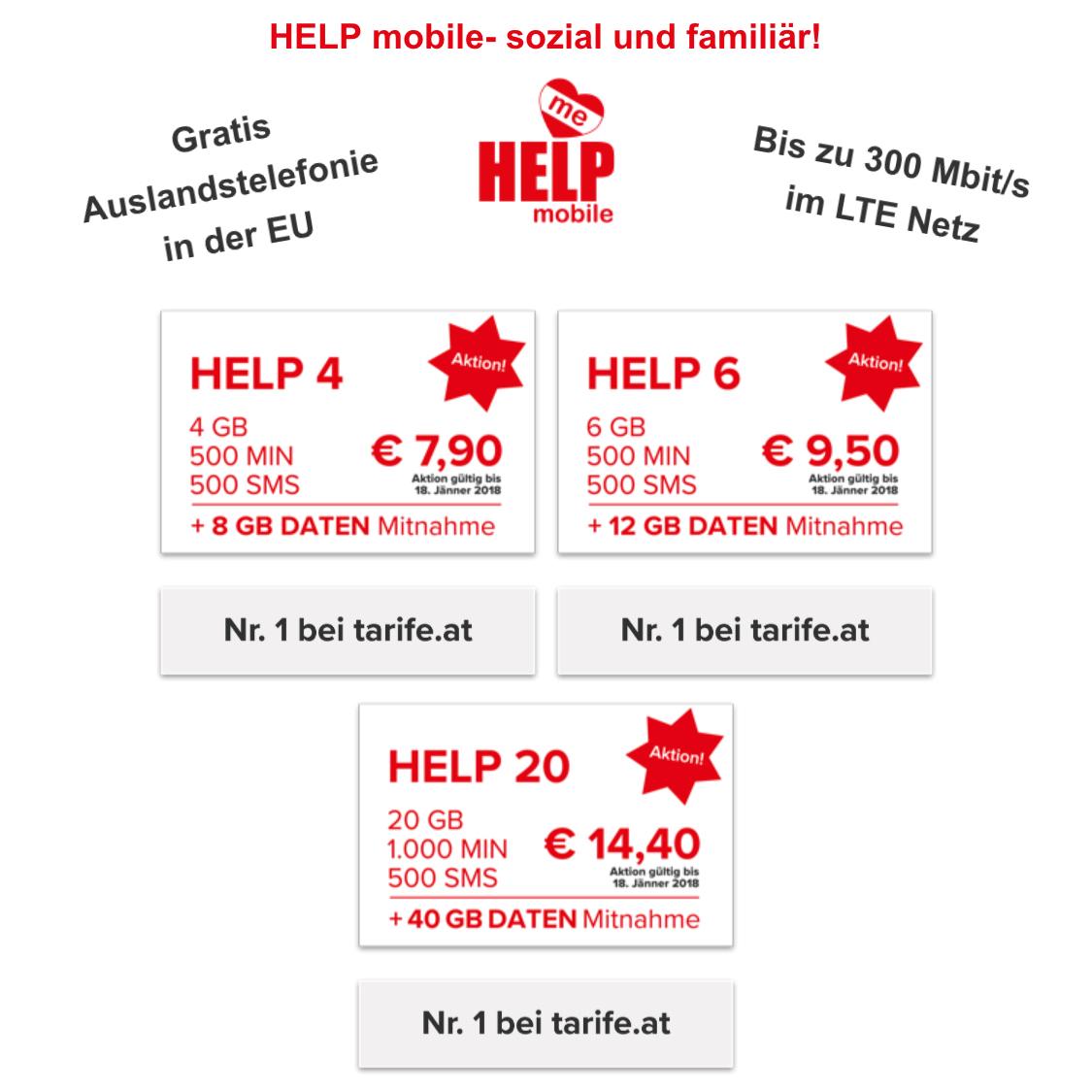 Help Mobile - 2 Tarif-Aktionen (1000Min/500SMS/20GB um 14,40 €) - (500Min/500SMS/6GB um 9,90 €)