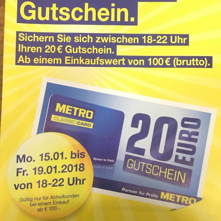 METRO: 20€ Gutschein ab 100€ Einkaufswert Brutto!