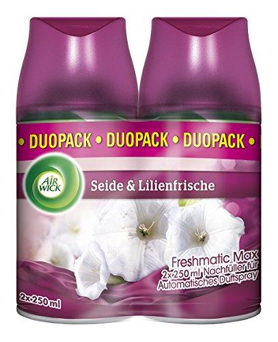 [www.AMAZON.de] Air Wick Freshmatic Max Automatisches Duftspray Nachfüller, Seide & Lilienfrische, Duo-Pack (2x250ml)€ 3,39 / bei -15% Spar-Abo  oder € 3,98 als Plus Produkt