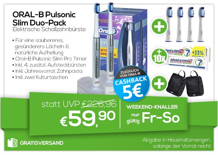Braun Oral-B Pulsonic Slim Duo + 2. Handstück + 4er-Pack Aufsteckbürsten + 10x blend-a-med Zahnpasta + 2x Kulturtaschen für 59,90€ + 5€ Cashback