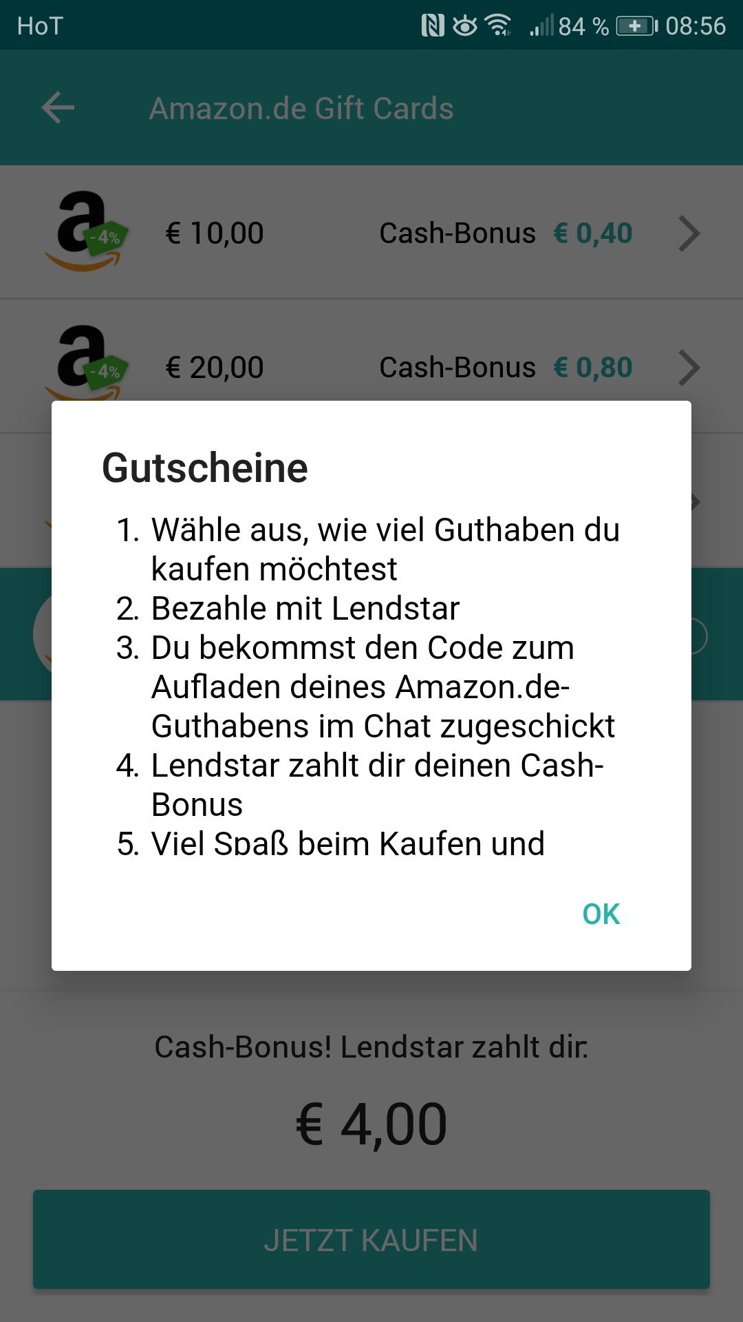Amazon 4% Cashback auf Gutscheine - Lendstar