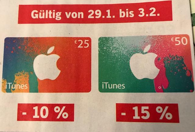 [www.LIDL.at Offline-Stores] -10% Rabatt bei 25 € oder -15% Rabatt bei 50 € iTunes Karten [Gutscheine] Gilt vom 29.1 bis 3.2.2018