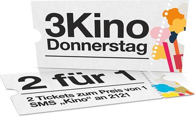 """""""Drei"""" - """"3KinoDonnerstag"""" - 1+1 Tickets - bis zu 50%"""