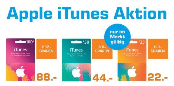 SATURN iTunes Karten minus 12% auf 25/50/100 Euro