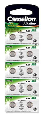 Amazon Plus: 10x Camelion 12051001 - Alkaline Knopfzellen ohne Quecksilber (AG1 / LR60 / LR621 / 364 / 1,5 Volt)