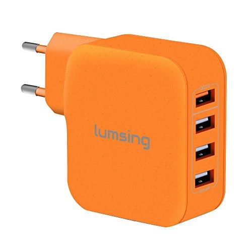 Lumsing Schnellladegerät 4-Port USB Wandladegerät + Lumsing KFZ Ladegerät 2 Port QC2.0 Auto Ladegerät Adapter Car Charger