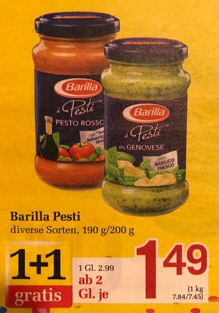 [www.Billa.at & Shops vor Ort auch Offline-Shops genannt) Barilla Pesto ab 2 Gläser je Stück € 1.49 ~ € 2,98