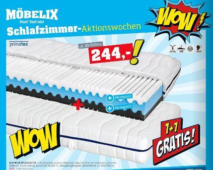 Möbelix 2 Stück Primatex Komfortschaummatratze Silvy 90x200 bis 6.2.