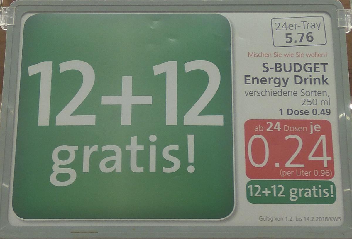 S-Budget Energy Drink 12+12 gratis! ab 24 Dosen je 0.24