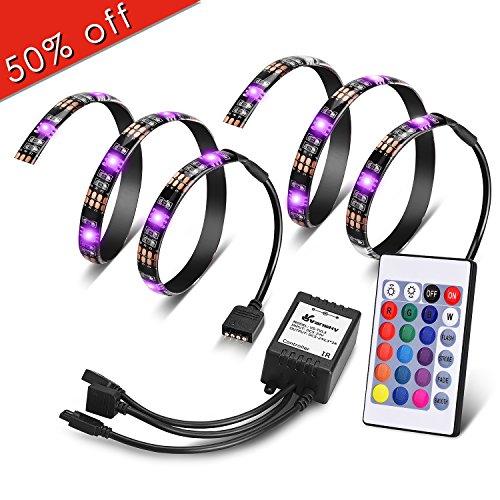 Mehrfärbige LED Strip Hintergrundbeleuchtung für PC oder TV  inkl Fernbedienung