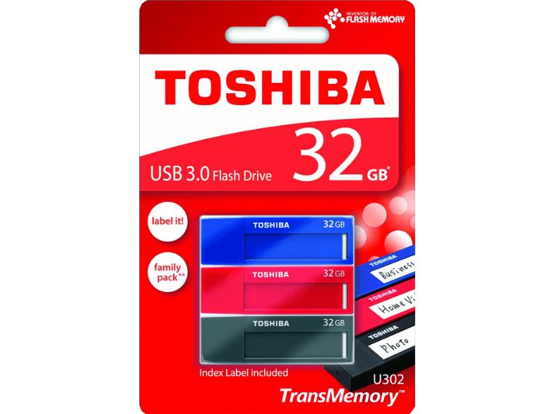 SATURN TOSHIBA USB Stick 3x 32GB, rot/blau/schwarz (THN-U302A0320M4) 8,33.- pro Stück !