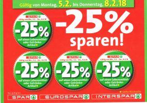 Spar / Interspar / Eurospar / Spar Gourmet -25% Rabatt auf 4 Artikel je Einkauf ab 05.02.18