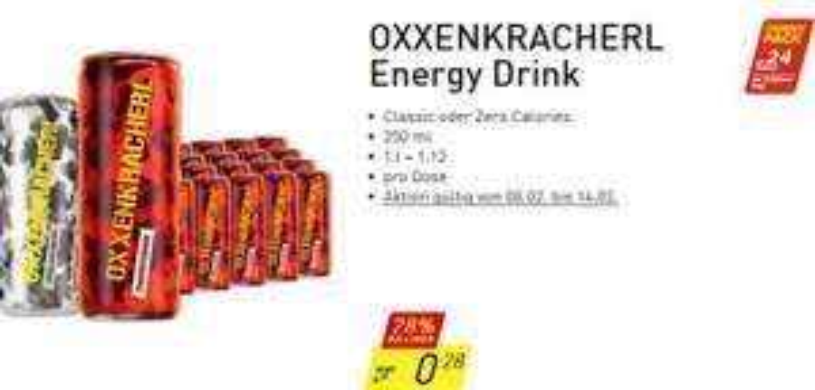 Penny Energydrink OXXENKRACHERL Classic oder Zero 8.2. - 14.2.
