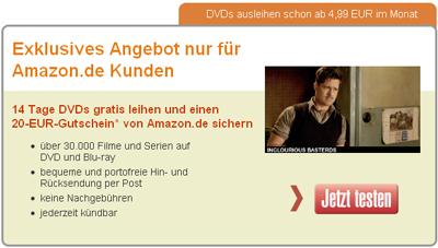 Lovefilm Abo für 4,99€ + 20€ Amazon Gutschein *UPDATE* - WICHTIG