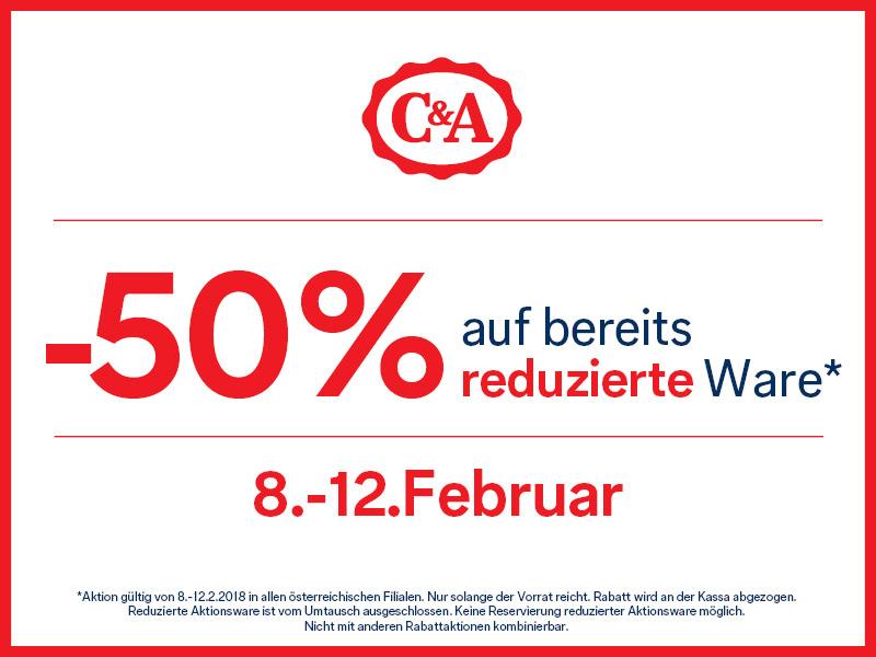 C&A: 50% Rabatt auf bereits reduzierte Artikel - nur vom 8. bis zum 12. Februar