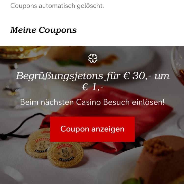 Registrieren & 30 Euro Jetons um 1 € erhalten