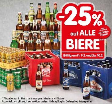 [INTERSPAR] -25% auf alle Biere u. Knabbergepäck incl. Aktionsangebote Fr. 09.02. + Sa 10.02.